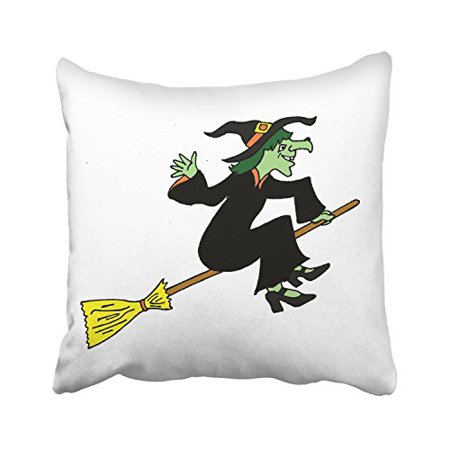 Halloween Cartoons Far Side (WinHome Happy Halloween A Cartoon Witch On A Broom White Decorative Pillowcases With Hidden Zipper Decor Cushion Covers Two Sides 18x18)