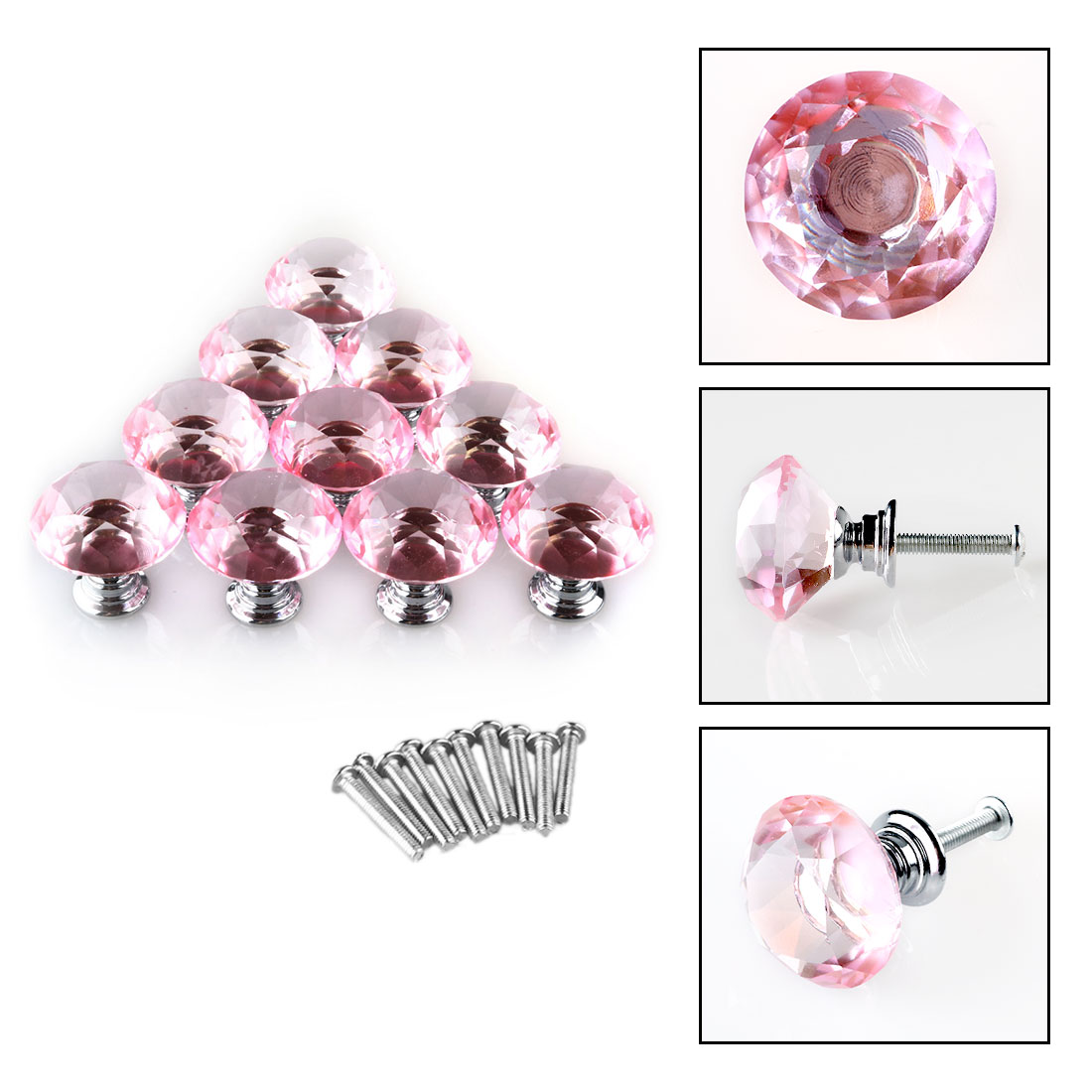 30mm Diamond Crystal Glass Drawer Knobs Home Kitchen Cabinet Cupboard Pull Handle Knobs,1,6,8,10,20pcs