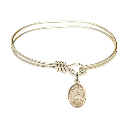 5 3/4 inch Oval Eye Hook Bangle Bracelet w/ Immaculate Heart of Mary in Gold-Filled