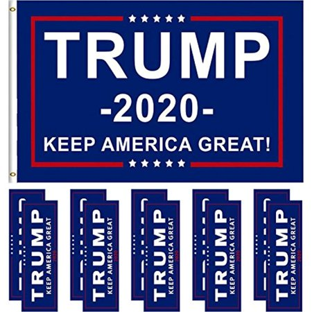 Jetec 1 Pack President Donald Trump Flag 2020 (3 x 5 Feet) with Grommets and 10 Pieces Bumper Stickers Car for Supporting President Trump (Color
