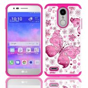 LG Rebel 4 Case, AT&T Prepaid LG Phoenix 4 Case, Phone Case for Straight Talk LG Rebel 4 Prepaid Smartphone, Studded Rhinestone Diamond Bling Cover Case (White-pink)