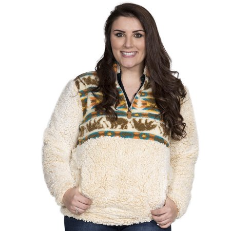 About Sherpa Bear (Simply Southern Womens Sherpa Pullover - Cream Bear or Steel)