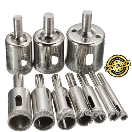 10-Pack Diamond Holesaw Drill Bit Hole Saw Set For Cutter Glass Ceramic Marble 6-32mm