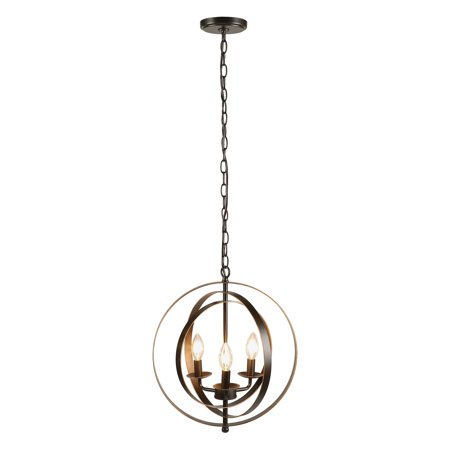 Antique Bronze Finished 3 Light Orb Chandelier Foyer Three Globe
