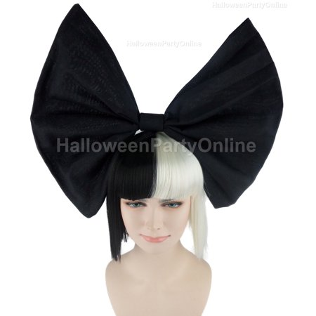 Austraian Singer Wig with Large Black Bow, Black & White Adult (Best Wig With Bows)