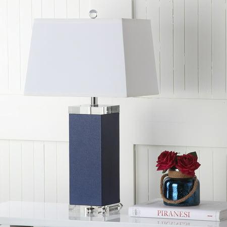 Safavieh Deco 27-Inch High Leather Table Lamp, Navy Art Deco Swivel Lamp