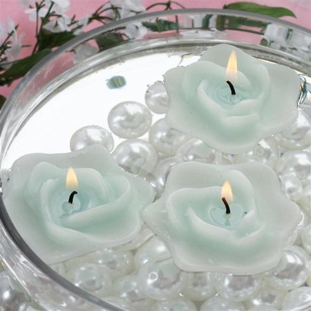 4 Pack Turquoise Rose Flower Floating Candles 1.75 Turquoise Floating Candles