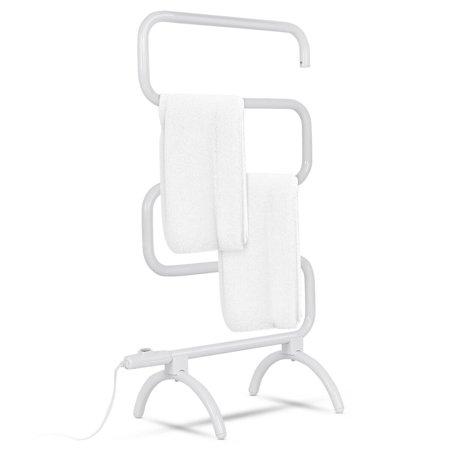 Goplus 100W Electric Towel Warmer Drying Rack Freestanding and Wall Mounted White Warmrails Towel Warmer Drying Rack