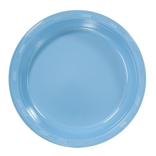 Exquisite 10  Disposable Plastic Plates Bulk - 100 Count Party Pack - Premium Plastic Disposable Lunch u0026 Dinner Plates Light Blue  sc 1 st  Walmart & Exquisite 10