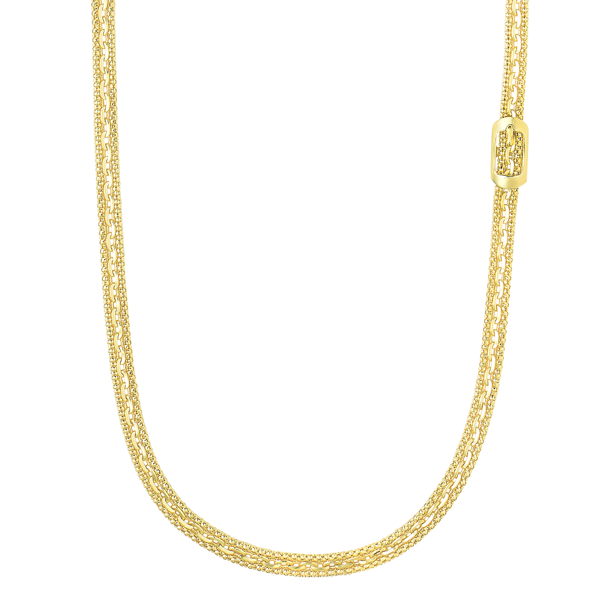 14K Yellow Gold Shiny+Diamond Cut 5.8-3.6mm R ectangle Buckle On Flat Popcorn+Oval Fancy Necklace with Lobster Clasp by Goldia