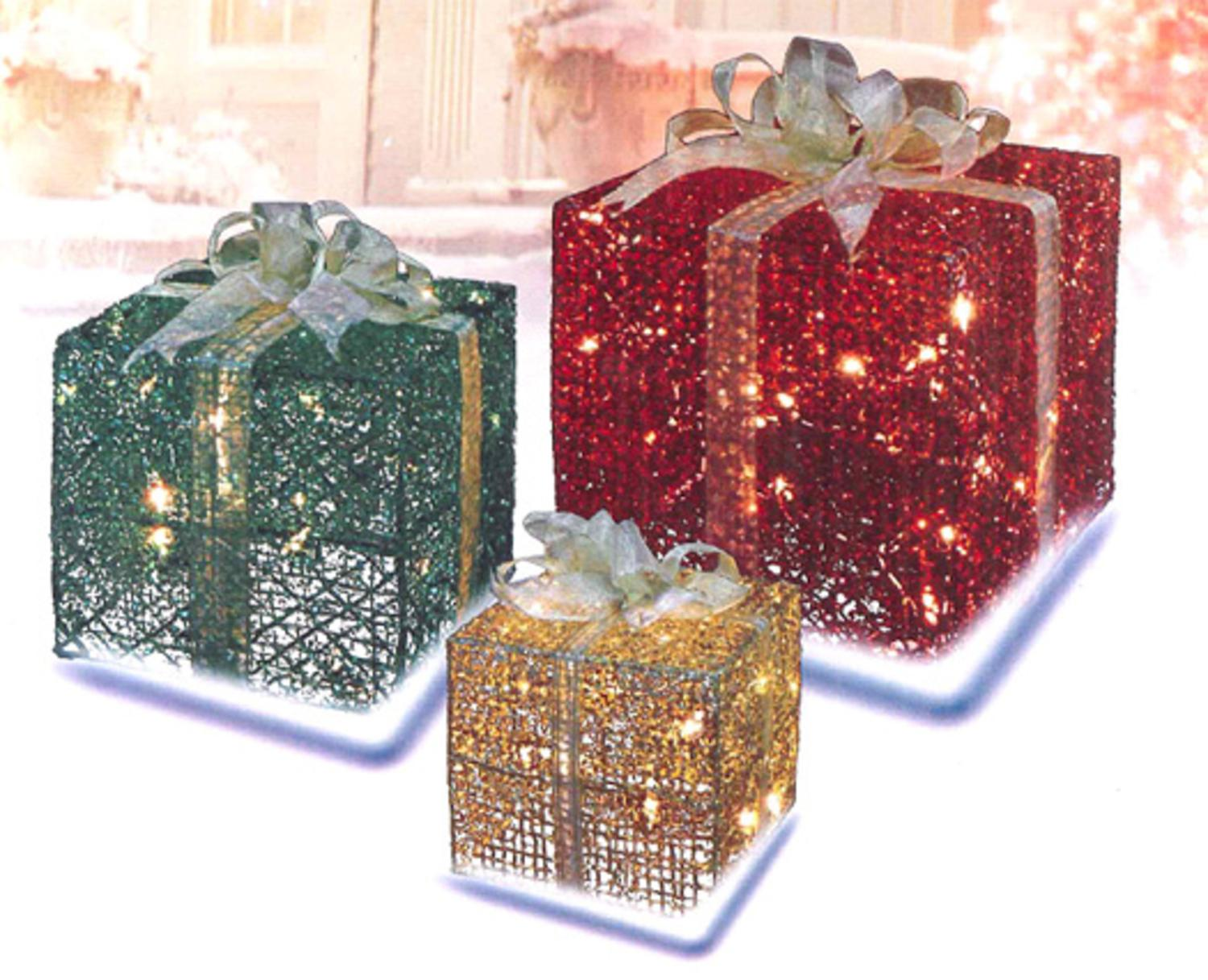 3 piece glittery red green gold gift box lighted christmas yard art set walmartcom - Outdoor Lighted Presents Christmas Decorations