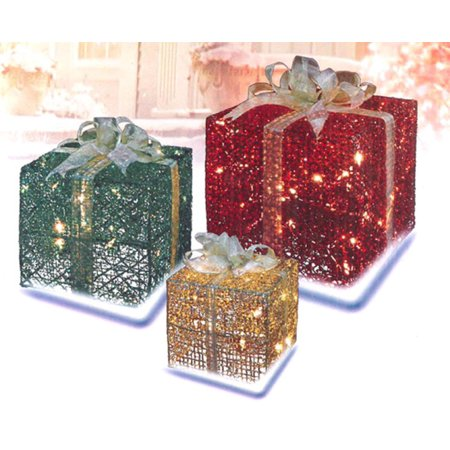 3 piece glittering gift box lighted christmas yard art decoration set