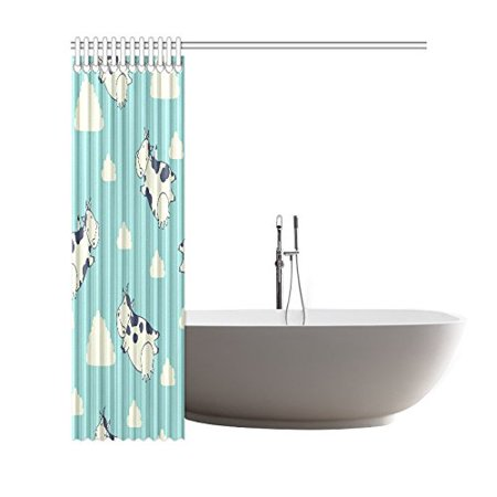 GCKG Animal Cattle Shower Curtain Cow Flying In Sky Clouds Polyester Fabric Bathroom