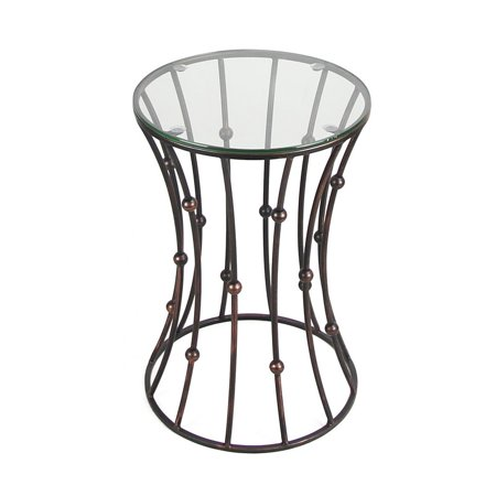Joveco Black Accent Metal Curve Shaped Round End Table with Glass Top
