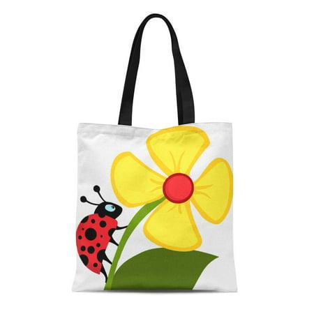 ASHLEIGH Canvas Tote Bag Ladybug Flower Reusable Kitten Daisies Cute Girls Mom Reusable Handbag Shoulder Grocery Shopping Bags ()