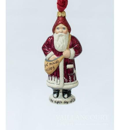 Vaillancourt Folk Art 8th Day of Christmas Eight Maids a Milking Polish Ornament ()