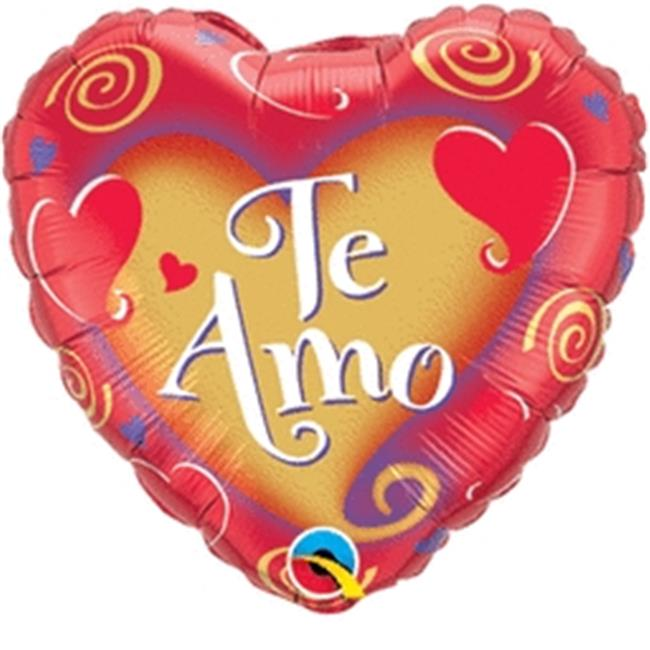 Qualatex 60487 9 in. Te Amo Swirling Heart-Flat Foil Balloon