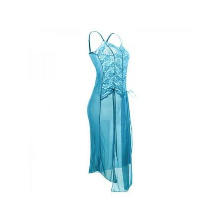 Plus Size Women Sleeveless Chiffon Lingerie Dress Sleepwear
