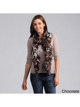 Saro  Women's Tiger Design Ruffle Scarf