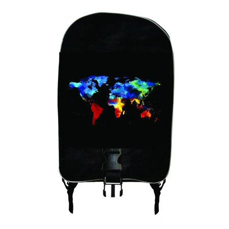 Watercolor Earth Continents - Girls / Boys Large Black School Backpack