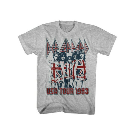 Def Leppard 80s Heavy Metal Band Rock n Roll 1983 USA Tour Adult T-Shirt Tee - 80s Heavy Metal
