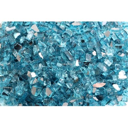 FireGlass Plus Q-CBR-10 Quarter Inch Caribbean Blue Reflective Fire Glass, 10 Pound Bag