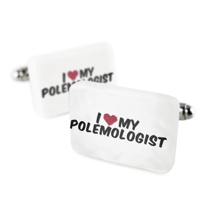 Cufflinks I heart love my Polemologist Porcelain Ceramic NEONBLOND