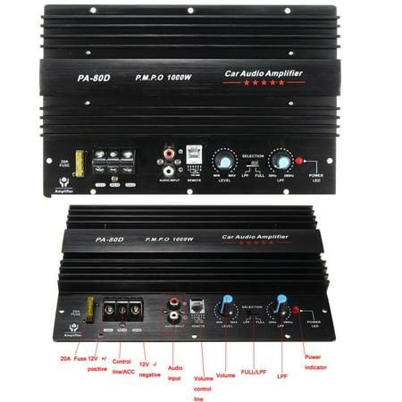 10'' Powerful 1000W 12V 4ohm 1CH Mono Car Audio High Power Amplifier Board Bass Subwoofer Amp Connect For Speaker / CD Player 30Hz~280KHz (Amp Board)