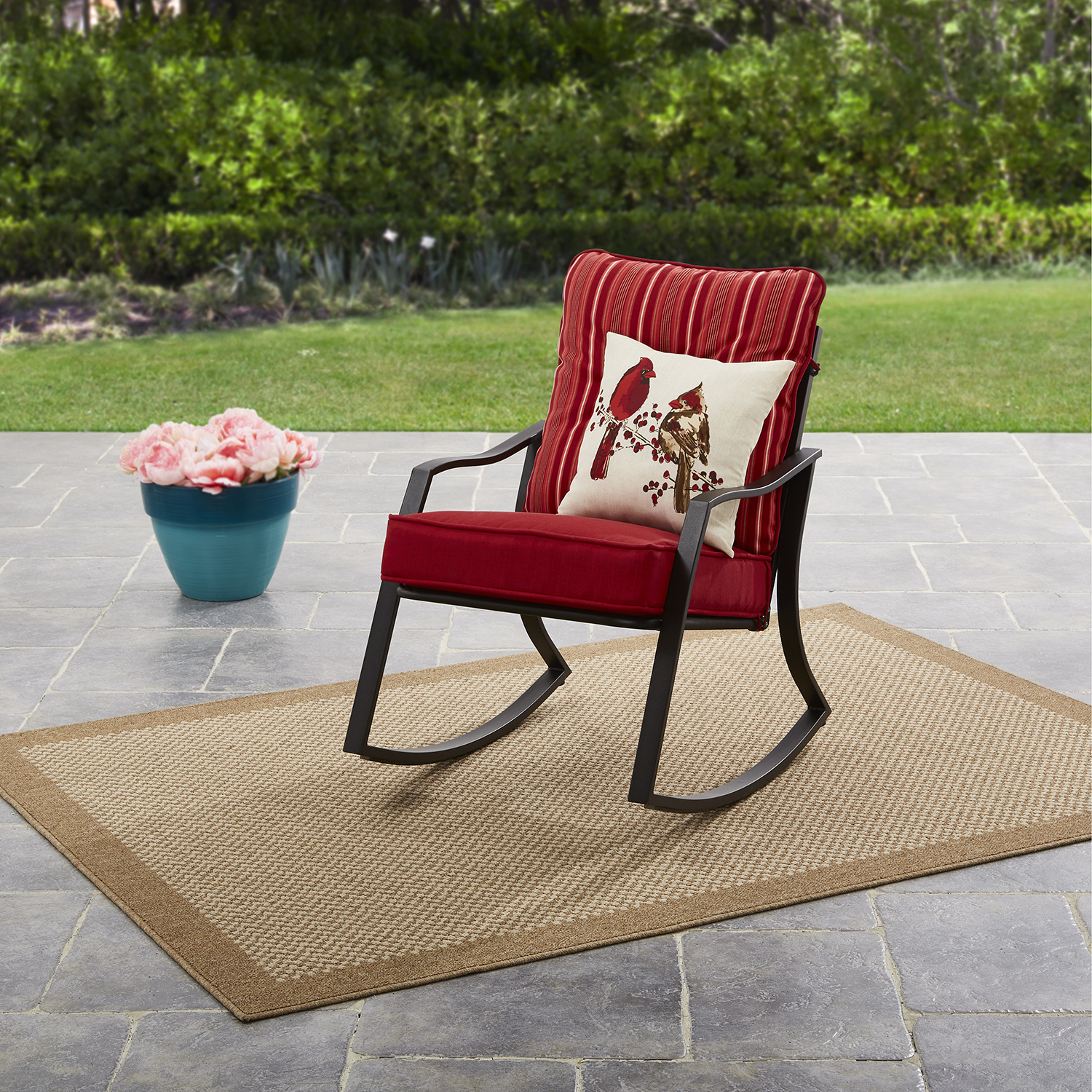 Mainstays Forest Hills Outdoor Rocking Chair - Reversible Red/Stripe