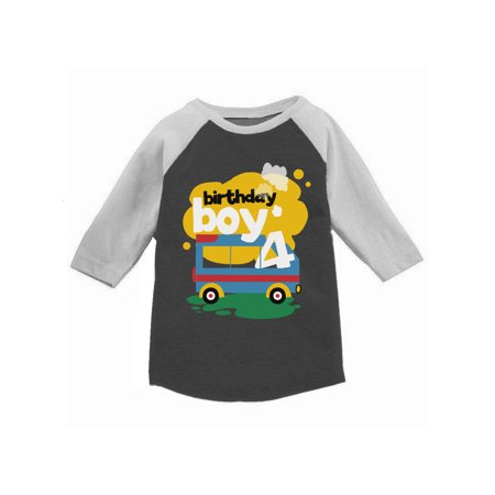 Awkward Styles Toy Truck Birthday Boy Toddler Raglan 4th Birthday Jersey Shirt Boys Birthday Party Outfit Fourth Birthday Gifts for 4 Year Old Boy Birthday Shirt for Toddler Boy Truck Themed Party