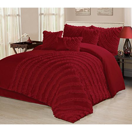 7 piece hillary bed in a bag ruffled clearance bedding comforter set fade resistant wrinkle. Black Bedroom Furniture Sets. Home Design Ideas