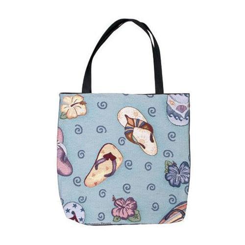 """Tropical Fun Sandals Shopping Tote Bag 17"""" x 17"""""""