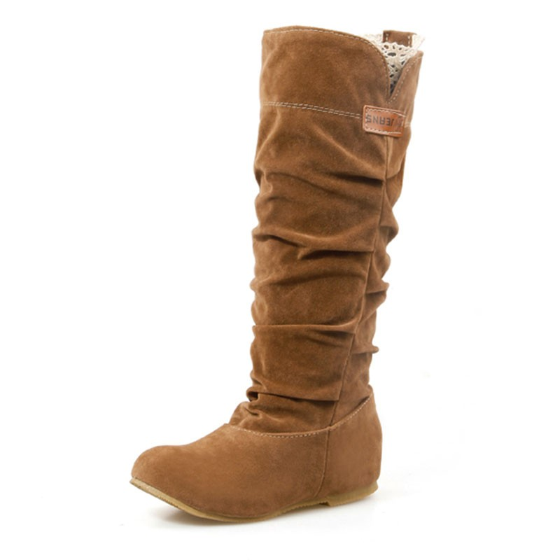 Spring/Autumn hidden wedge Flock boots Fashion Flat Mid-calf women boots