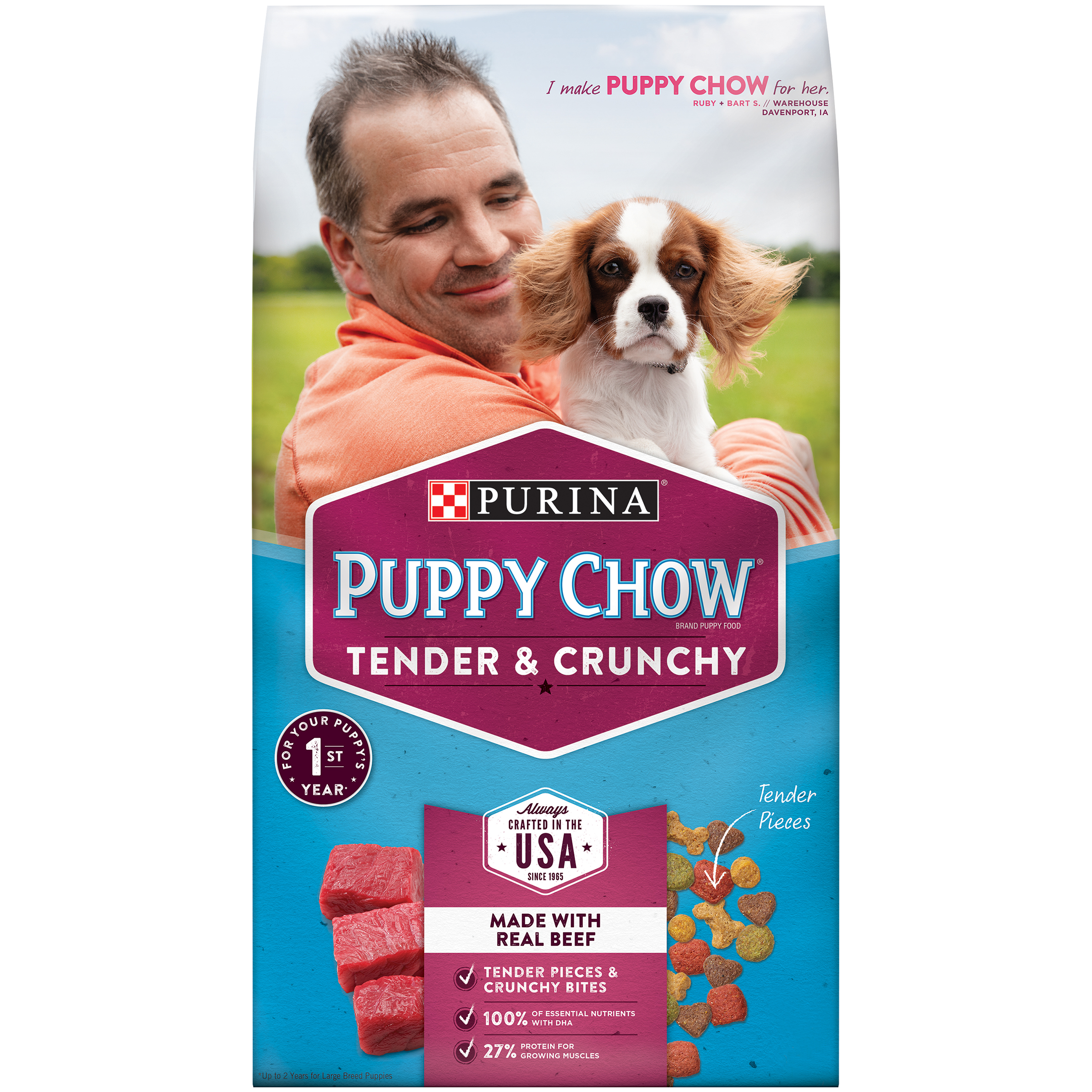 Purina Puppy Chow Tender & Crunchy Dry Puppy Food 4.4 lb. Bag by Nestle Purina Petcare Company