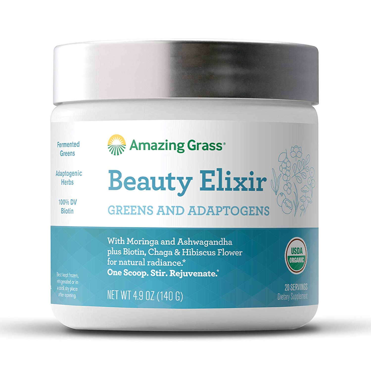 Amazing Grass Beauty Elixir Powder with Greens & Adaptogens, 20 Servings