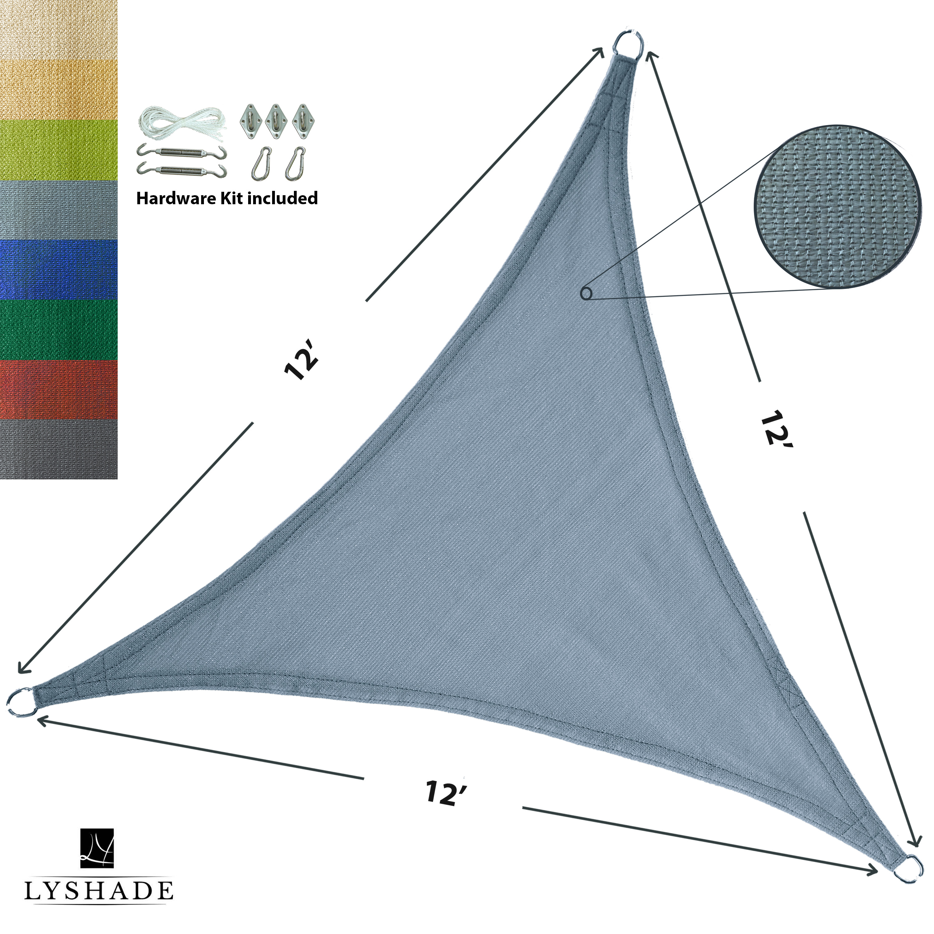 LyShade 12' x 12' x 12' Triangle Sun Shade Sail Canopy with Stainless Steel Hardware Kit - UV Block for Patio and Outdoor