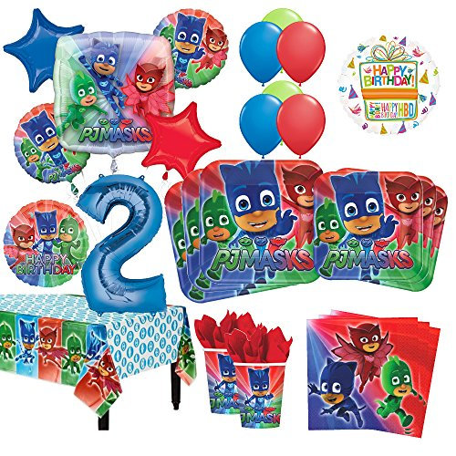 PJ Masks 2nd Birthday Party Supplies 8 Guest Kit and Balloon Bouquet Decorations