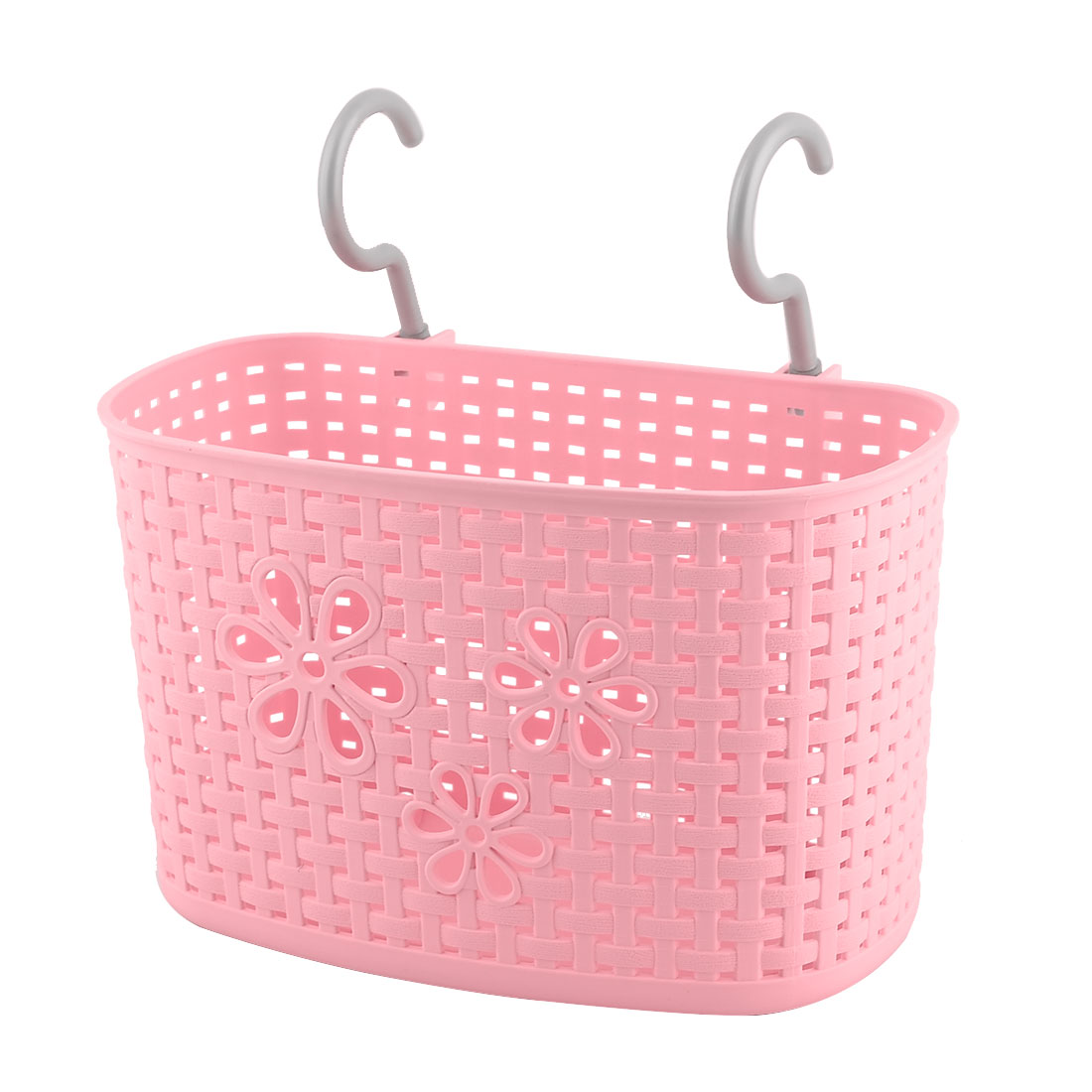Household Kitchen Plastic Rectangular Hanging Hook Storage Basket Container Pink