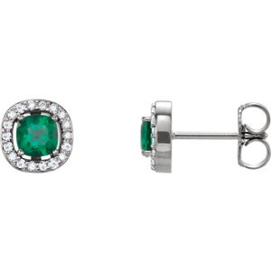 Jewels By Lux 14k White Gold Set Chatham Created Emerald 04.00X04.00 mm Pair Polished Chatham Created Emerald And .08CTW Dia Earrings