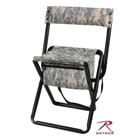 ACU Digital Camouflage - Military Style Deluxe Folding Stool with Back -