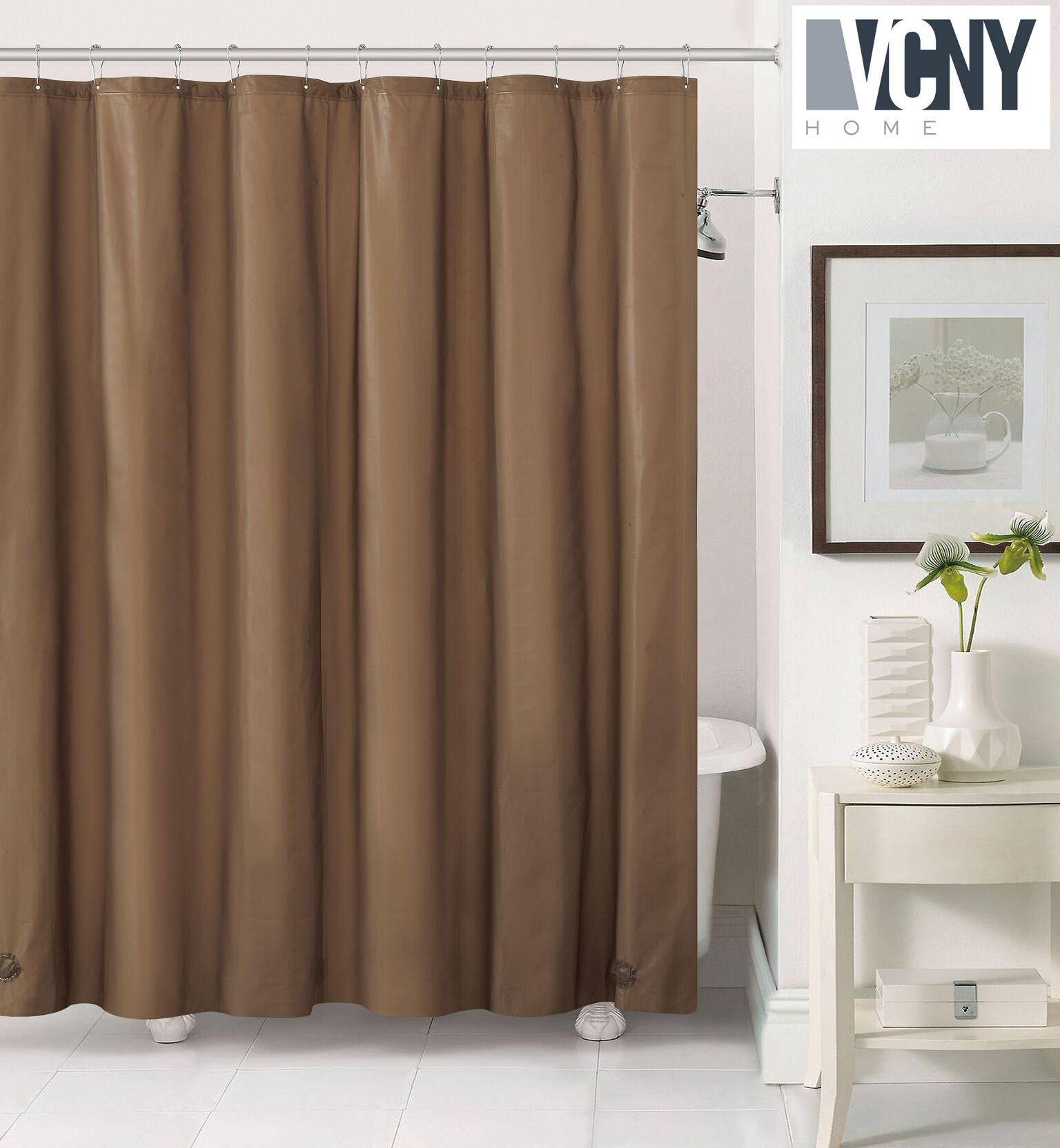 Gentil Peva Plastic Shower Curtain Liners With Magnets By Victoria Classics    Chocolate
