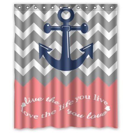 GreenDecor Infinity Live The Life You Love Love The Life You Live Chevron With Nautical Anchor Pink Waterproof Shower Curtain Set with Hooks Bathroom Accessories Size 60x72 inches - Nautical Shower Curtain Hooks