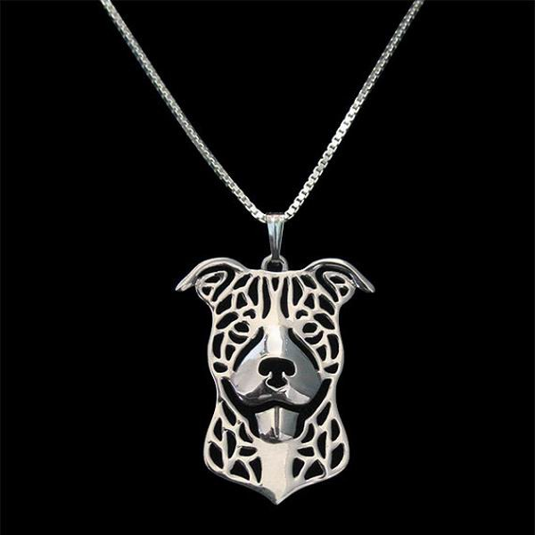 FREE SHIPPING Smiling Pit Bull Sterling Silver Charm Necklace New