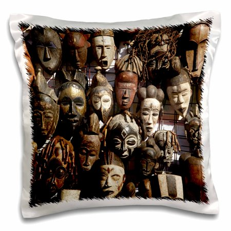 3dRose Mask stall at African curio market, Cape Town, South Africa. - Pillow Case, 16 by