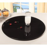 Chintaly 24 in. Glass Lazy Susan Black by Lazy Susans
