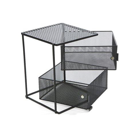 - Mind Reader Rotating Magnetic Kitchen Spice Rack Napkin Holder 2 Tier Shelf, Baskets, Drawers with Magnets, Black