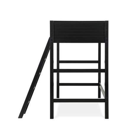 Your Zone Kids Wooden Loft Bed with Ladder, Black