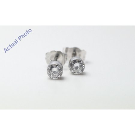18k White Gold Round Cut Invisible Setting Diamond Earrings (0.64 Ct, G Color, SI1 Clarity)