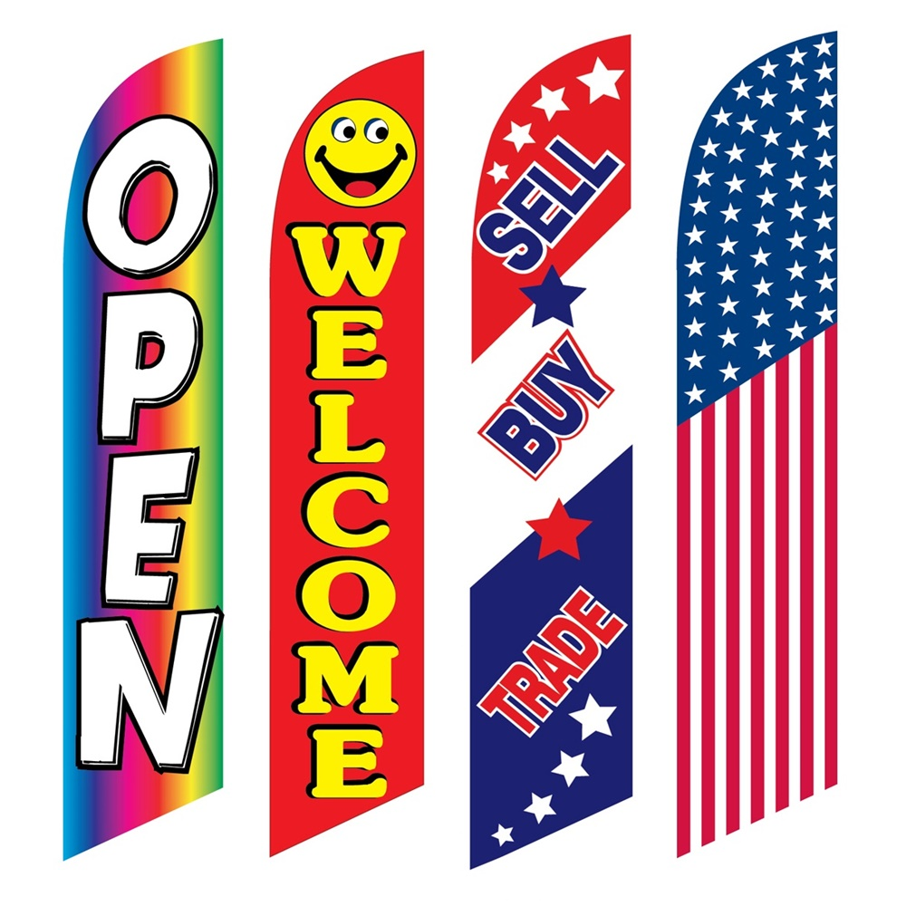 4 Advertising Swooper Flags Open Welcome Sell Buy Trade America