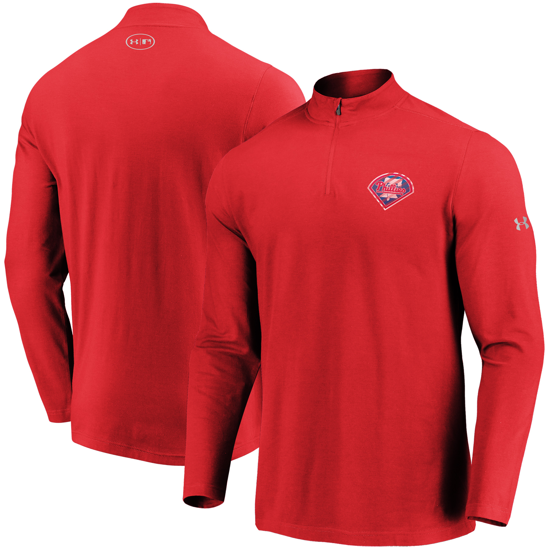 Philadelphia Phillies Under Armour Passion Alternate Left Chest 1/4-Zip Jacket - Red